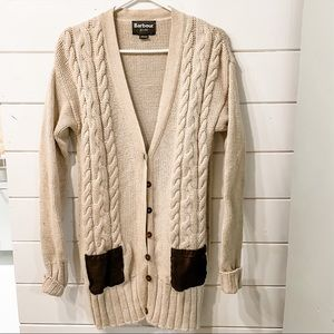 Stunning Barbour cardigan with leather pockets